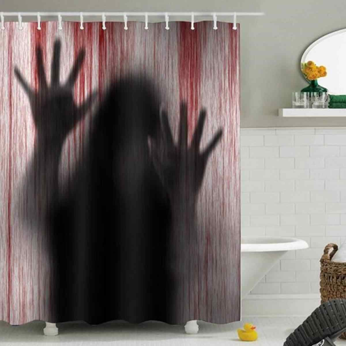 Shower Curtain Halloween Horror Psycho Bloody Hands Bathroom Bath Shower Curtains Decor Gift Waterproof Polyester Bathroom Curta