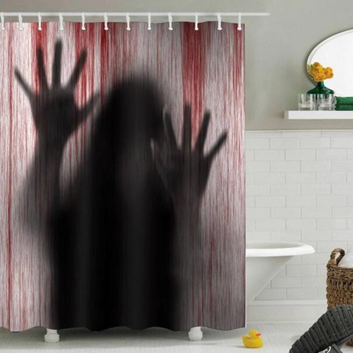 shower curtain halloween horror psycho bloody hands bathroom bath shower curtains decor gift waterproof polyester bathroom curta