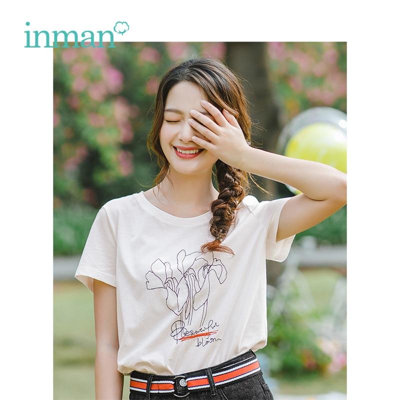 INMAN 2019 Summer O-neck Korean Fashion Casual Fashion Style Slim Short Sleeves Women Cotton Tshirt Top Femme T-Shirt