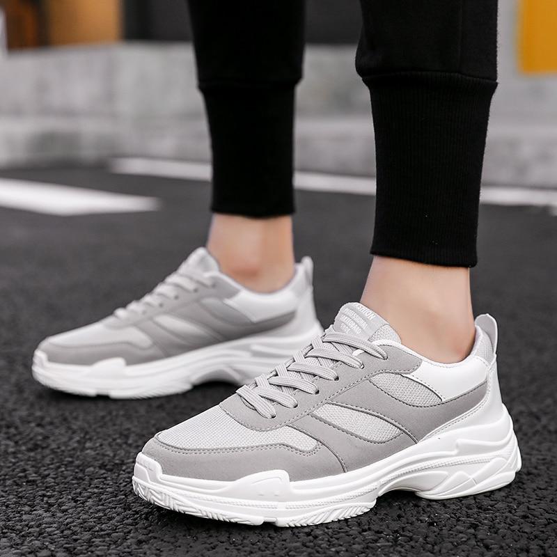 Hommes Respirant Men Men forme gray Blanc Casual Plate De White Black Printemps Chaussures Classique Avec black Sneakers' Sneakers Formateurs Chunky r4r0fq