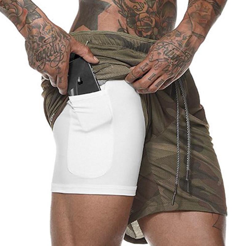 Men 2 In 1 Running Shorts Bodybuilding Gym Shorts Men Dry Fit Summer Fitness Sport Shorts Men Double Layer Joggers Short Pants