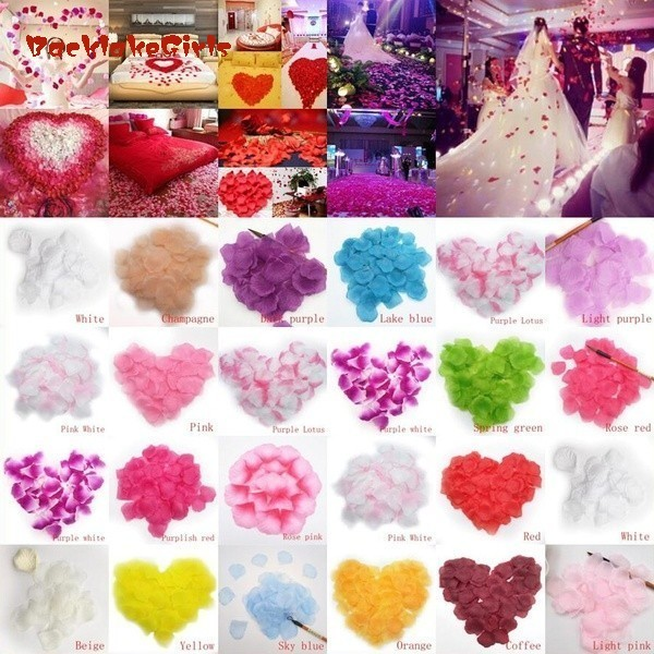 1000 Pcs Pink/white/blue/red Silk Rose Flower Petals Leaves Wedding Table Decorations