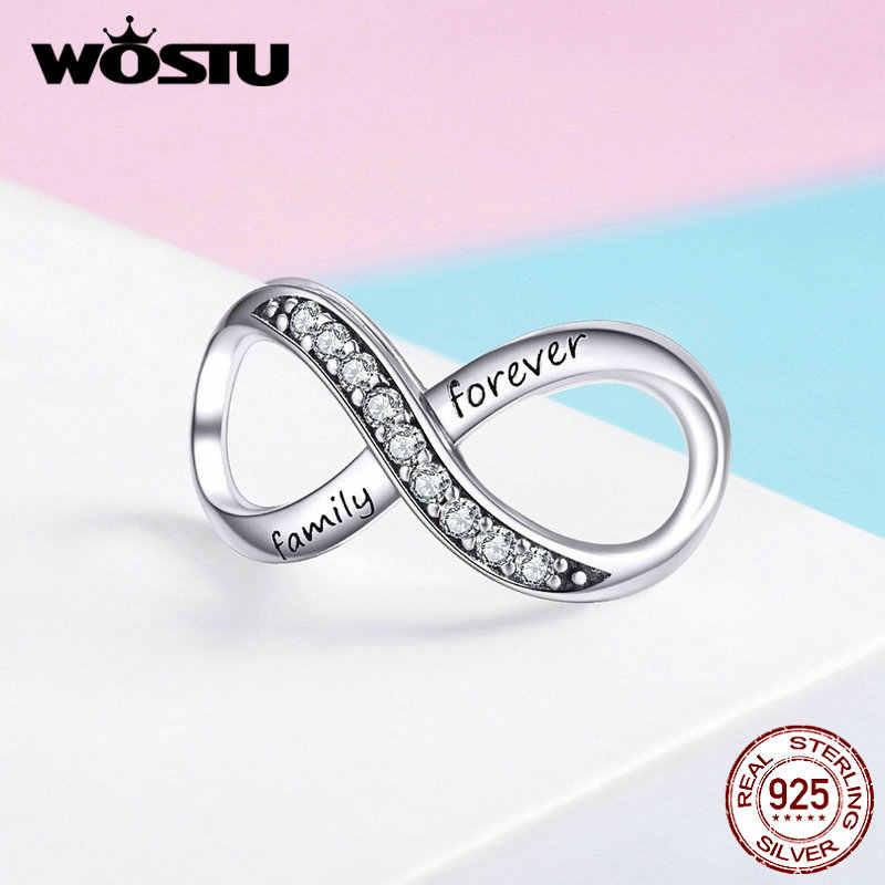 Wostu para sempre família infinity amor encantos 925 prata esterlina grânulo caber pulseira original pingente cruz design jóias cqc1146