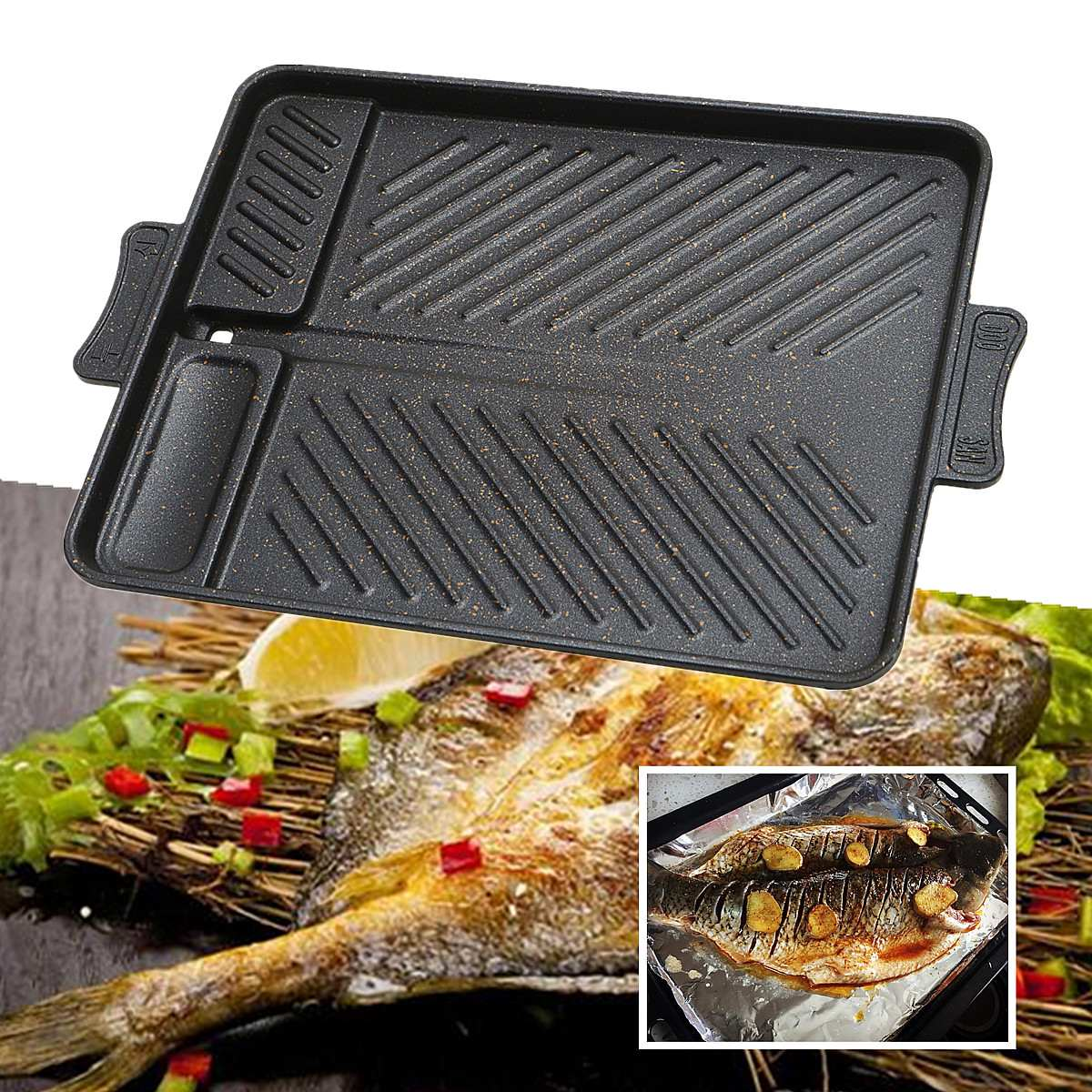Home Trustful Non Stick Table Top Roasting Tray Baking Pan Barbecue Fried Dish Roaster Grill Twill Pattern Design Heat Evenly For In/outdoor