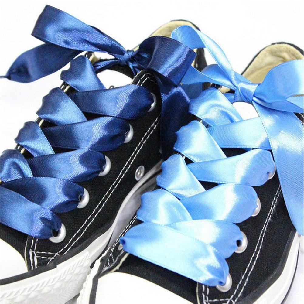 1Pair 2Cm Width Satin Silk Ribbon Shoelaces 80/90/100cm Shinny Shoe Laces Unisex Sneaker Sport Shoelace Adult Kid's Shoe Lace