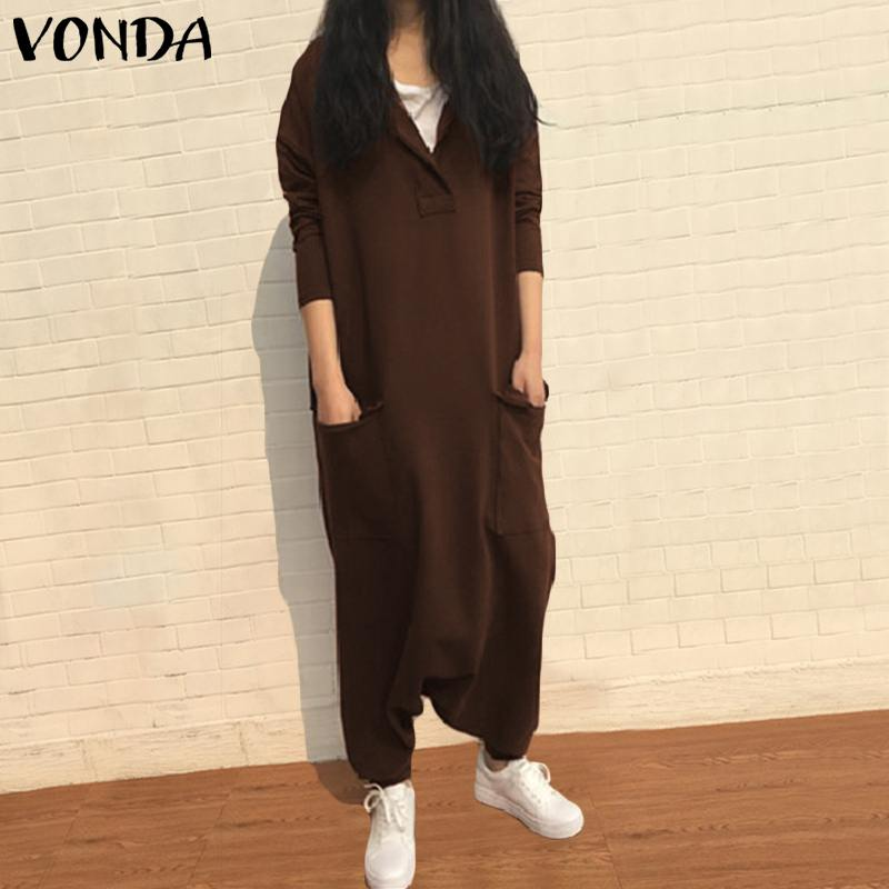 New Arrival Rompers Womens Jumpsuit Harem Pants 2019 VONDA Autumn Sexy Long Sleeve Overalls Casual Loose Plus Size Playsuits