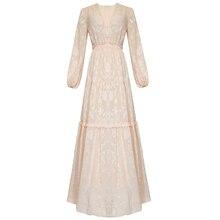 Весна одежда бежевое цветочное Макси платье с глубоким v-образным вырезом Фонарь длинный рукав длина до пола женское Макси платье с баской Прямая поставка