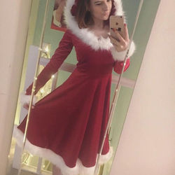Christmas Dress Women Ladies Dresses Xmas Holiday Dress Santa Long Sleeve Xmas Family Matching Clothes NEW Red 1