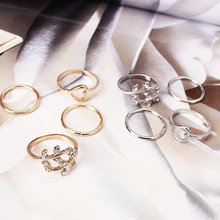 4PCS / Set Fashion Hot Girl Ring Punk Wind Crystal Heart Shape Circle Silver Gold Valentines Day Christmas Gift