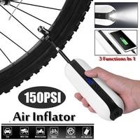 150PSI Bike Electric Inflator Bicycle Cycle Air Pressure Pump Rechargeable Cordless Tire Pump MTB Road Bike Car Air Inflator 12V
