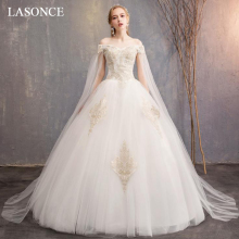 LASONCE Champagne Lace Appliques Ball Gown Wedding Dresses Sweetheart Off The Shoulder Backless Tulle Bridal Dress