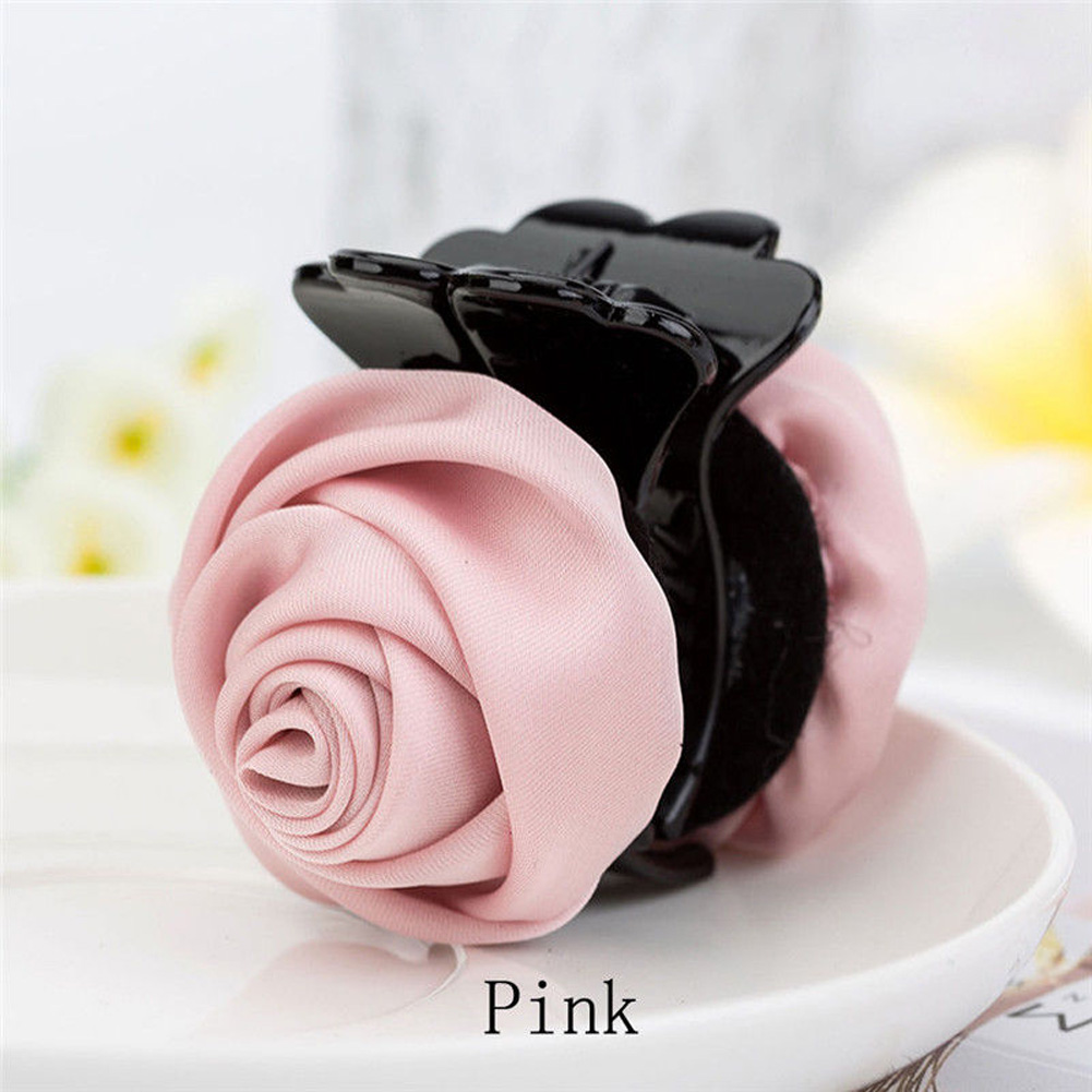 Korean Elegant Rose Flowers Hair Claw Clips For Women Girls Pink Sweet Hair Crab Clamp Hairpins Grips Hair Accessories For Gifts