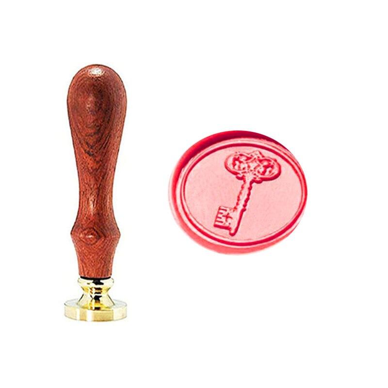Vintage Key Custom Picture Logo Wedding Invitation Wax Seal Sealing Stamp Rosewood Handle Set
