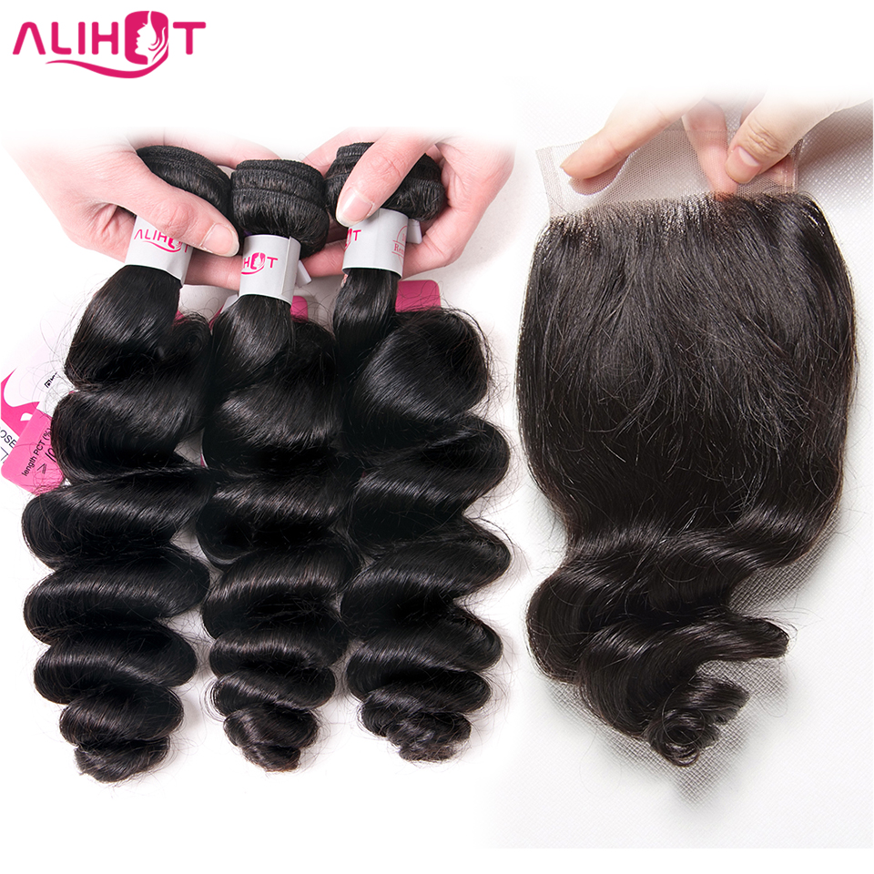 Ali Hot Hair Loose Weave Human Hair Bundles With Lace Closure Remy Brazilian Hair Weave 3