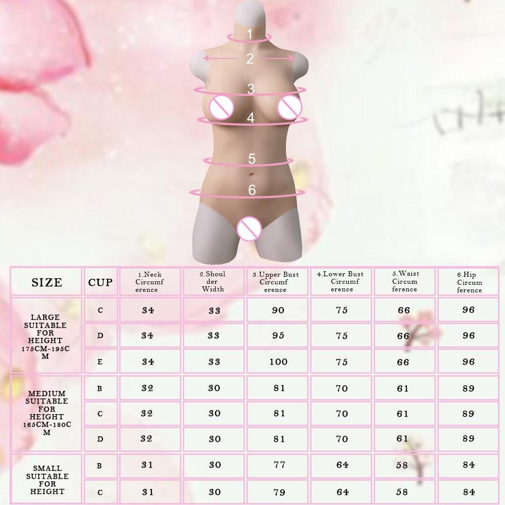 KOOMIHO Triangular Vagina Crossdresser Silicone Breasts Bodysuit Fake Breast Forms Hip Enhancer Silicone Boobs Drag Queen 3G