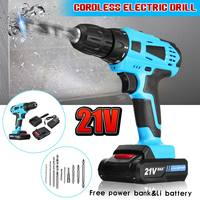 12V/21V 2 Speed Electric Screwdriver Impact Wrench Tool Set Multifunction Rechargeable Lithium Battery*2 Torque Electric Drill