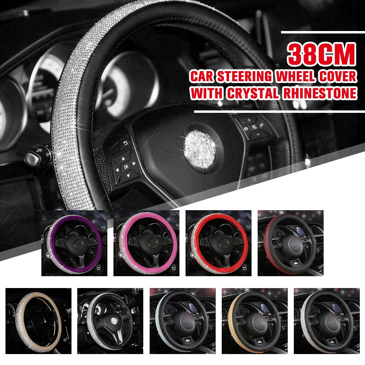 Negro/Beige 15 ''38 cm de cuero Auto del coche cubierta del volante con cristal de diamantes de imitación para las mujeres las niñas Interior accesorios