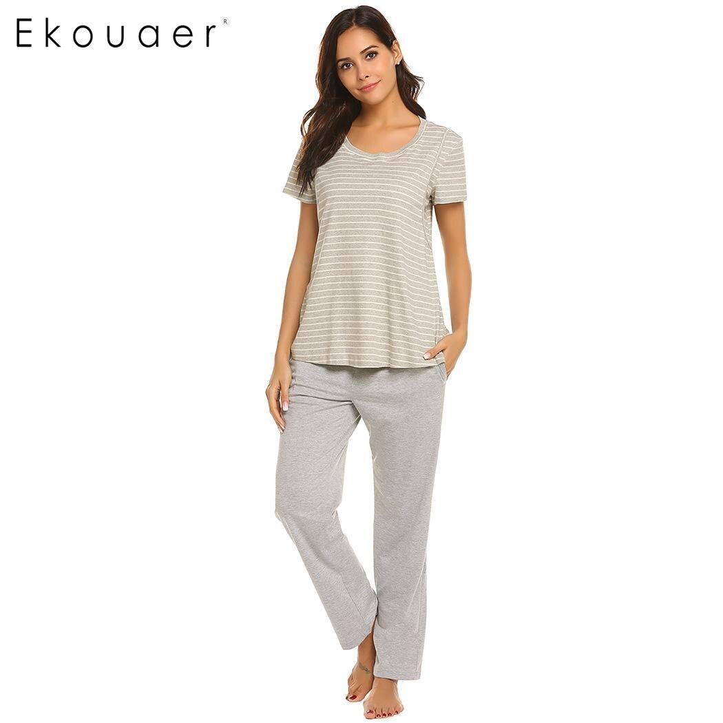 Ekouaer   Pajamas     Set   Women Maternity Breastfeeding Sleepwear   Sets   Stripes Sleepwear Homewear Suits Female Casual   Pajama