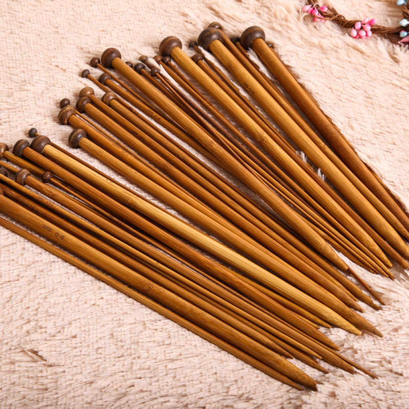 36pcs/Set 18 Sizes Single Pointed Carbonized Bamboo DIY Crochet Weave Yarn Knitting Needles Handle Home Household Crafts Tools