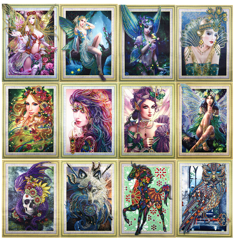 5D DIY Diamond Painting Cartoon Character Animal Pattern Special Shape Diamond Cross Stitch Crystal Round Diamond Mosaic Home De in Diamond Painting Cross Stitch from Home Garden