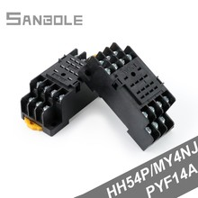 Relay Socket / Relay Base PYF14A Black 14 Pin Terminal suit for HH54P MY4NJ Power U type DIN rail (5PCS) стоимость