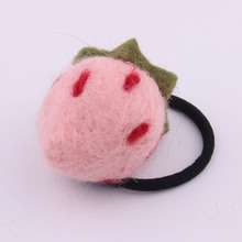 Spring New Arrival Cute Cartoon Woolen Strawberry Type Rubber Band For Girls Summer Elastic Hair Accessories Tail