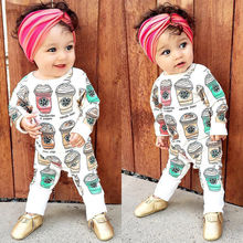 Baby Girl Ice Cream & Letter Romper Jumpsuit Clothes 0-24M
