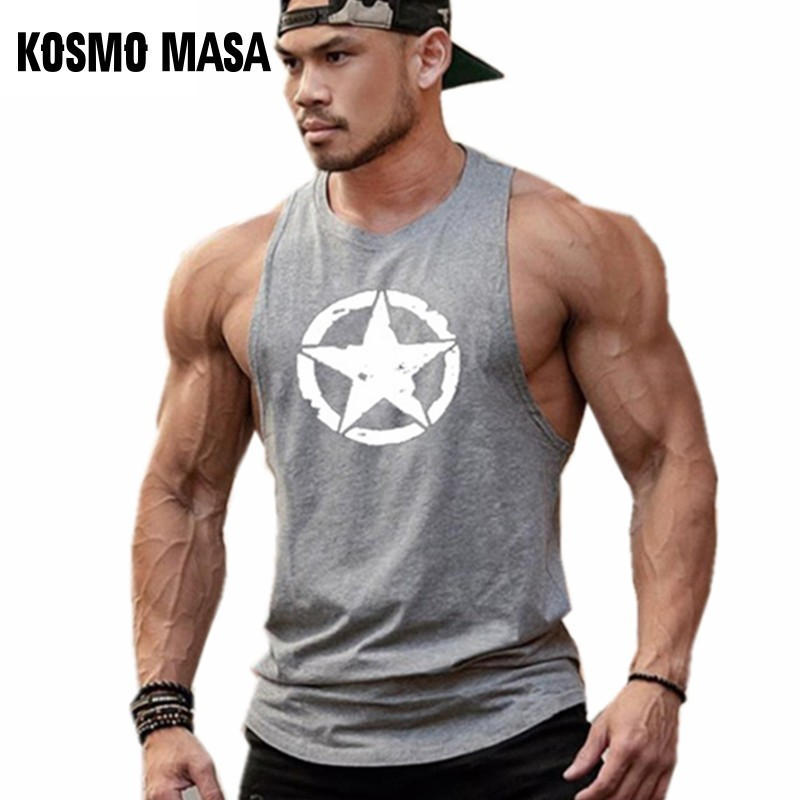 KOSMO MASA Cotton   Tank     Top   Men Gym Fitness Printed Summer Muscle Workout   Tank     Top   Stringer   Tank     Top   Bodybuilding For Men MC0367