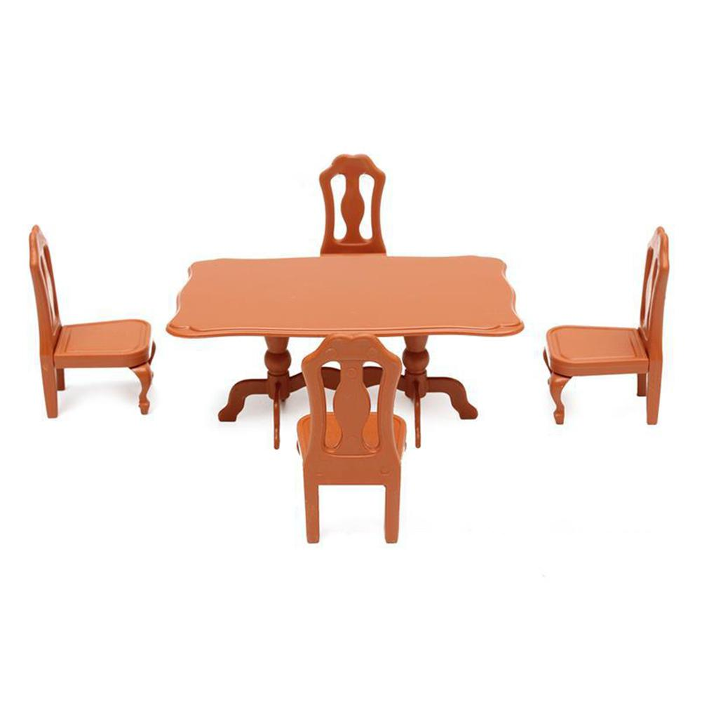 LeadingStar DIY Lovely Mini Furniture Dolls House Miniature Dining Table Chair Set Children Kids Gift Toys