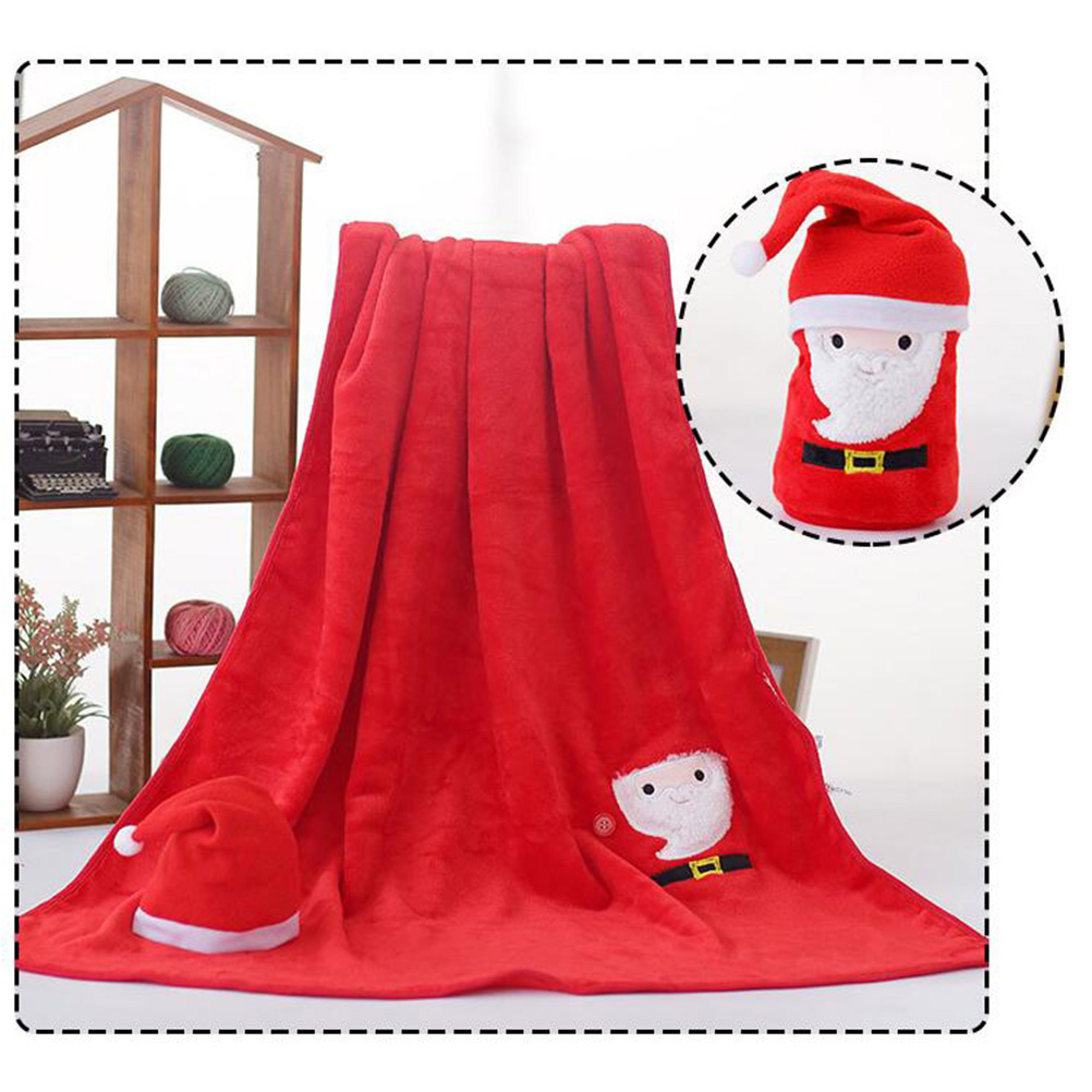 Christmas Blankets.Us 8 13 49 Off Santa Claus Hat And Flannel Blanket Set Soft Christmas Blanket Kids Sleeping Blanket Couch Cover Blanket In Blankets From Home
