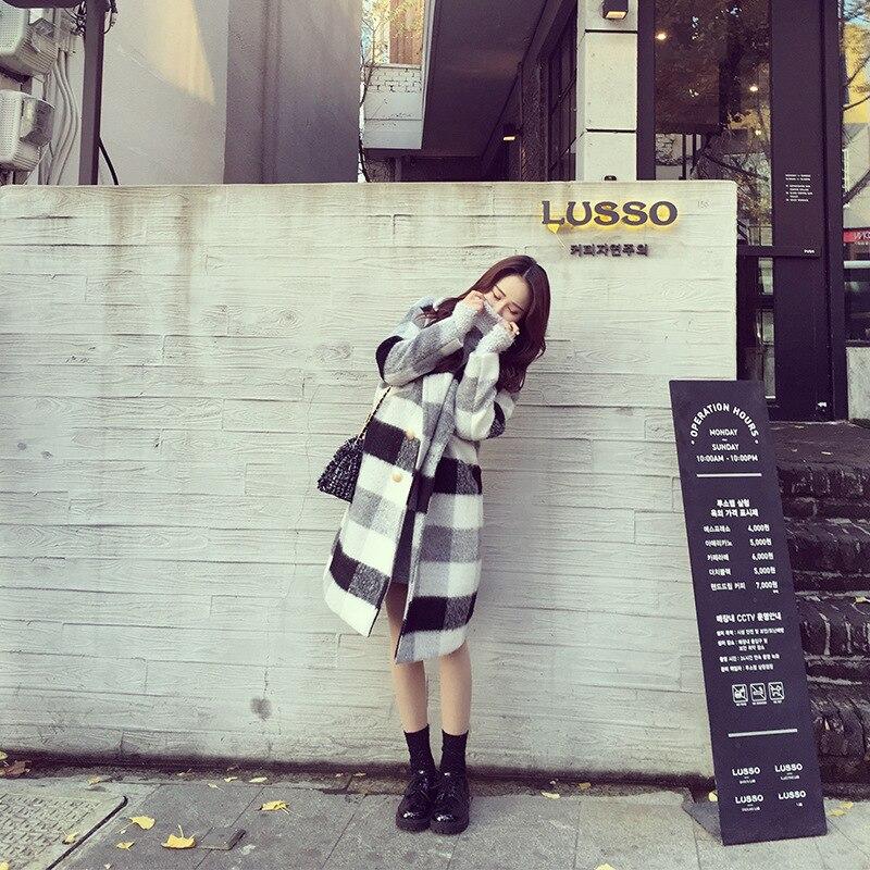 Stile Outwear Plaid Modo Coreano Cappotti 2018 Elegante Manica Manteau Femme Geometrica Classico Ol Allentato Donna Di Lunga Femminile Inverno w1aaxE8ndr