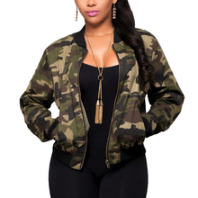 Jacket Women Long Sleeve Camouflage Bomber Autumn Casual Coat Military Zipper Sl