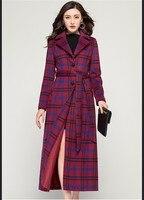 Casaco Feminino 2019 Women Plus Size Autumn Winter Cassic Lattice Wool Maxi Long Coat Female Robe Outerwear Manteau Femme