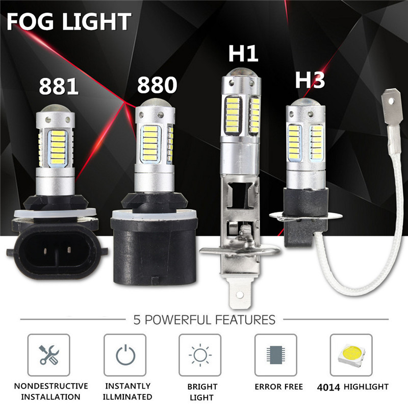 2pcs  Auto Car Light LED Headlights 4014 LED H27 880 881 H1 H3 Headlamp Bulb Fog Light 6000K 12V Car Styling