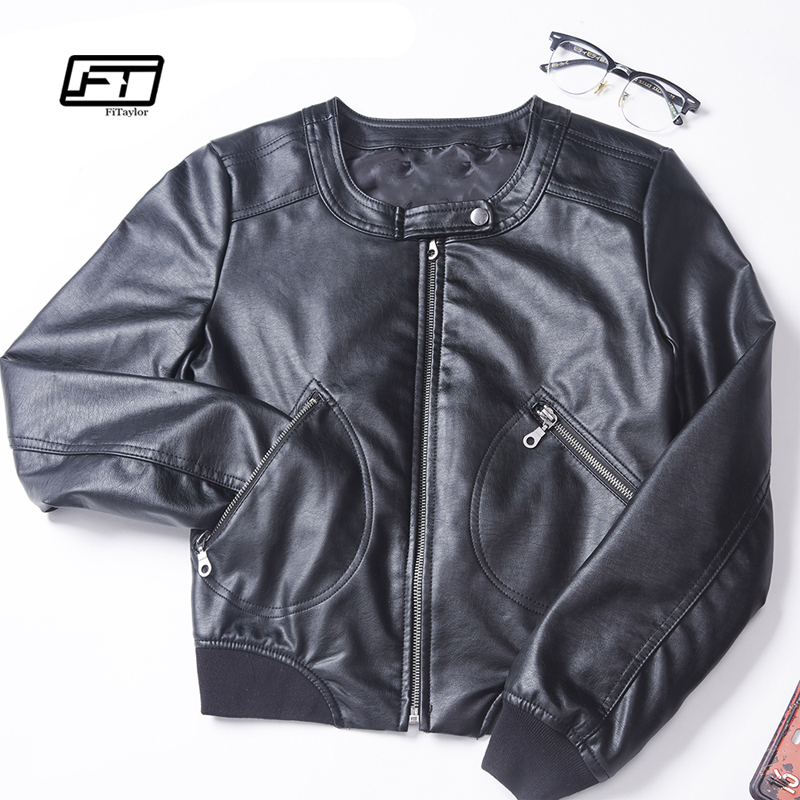 Fitaylor 2019 Faux   Leather   Jacket Women Plus Size S-5XL O-neck Zipper Casual Jacket Female Short Biker Jacket Black Pink Coat