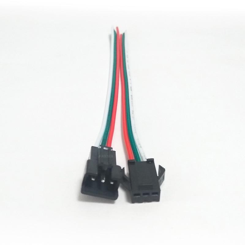 200 paires 3pin JST SM connecteur mâle 50cm & femelle 50cm fil 3 voies câble pour WS2812B WS2811 WS2812 SK6812 LED bande lumineuse