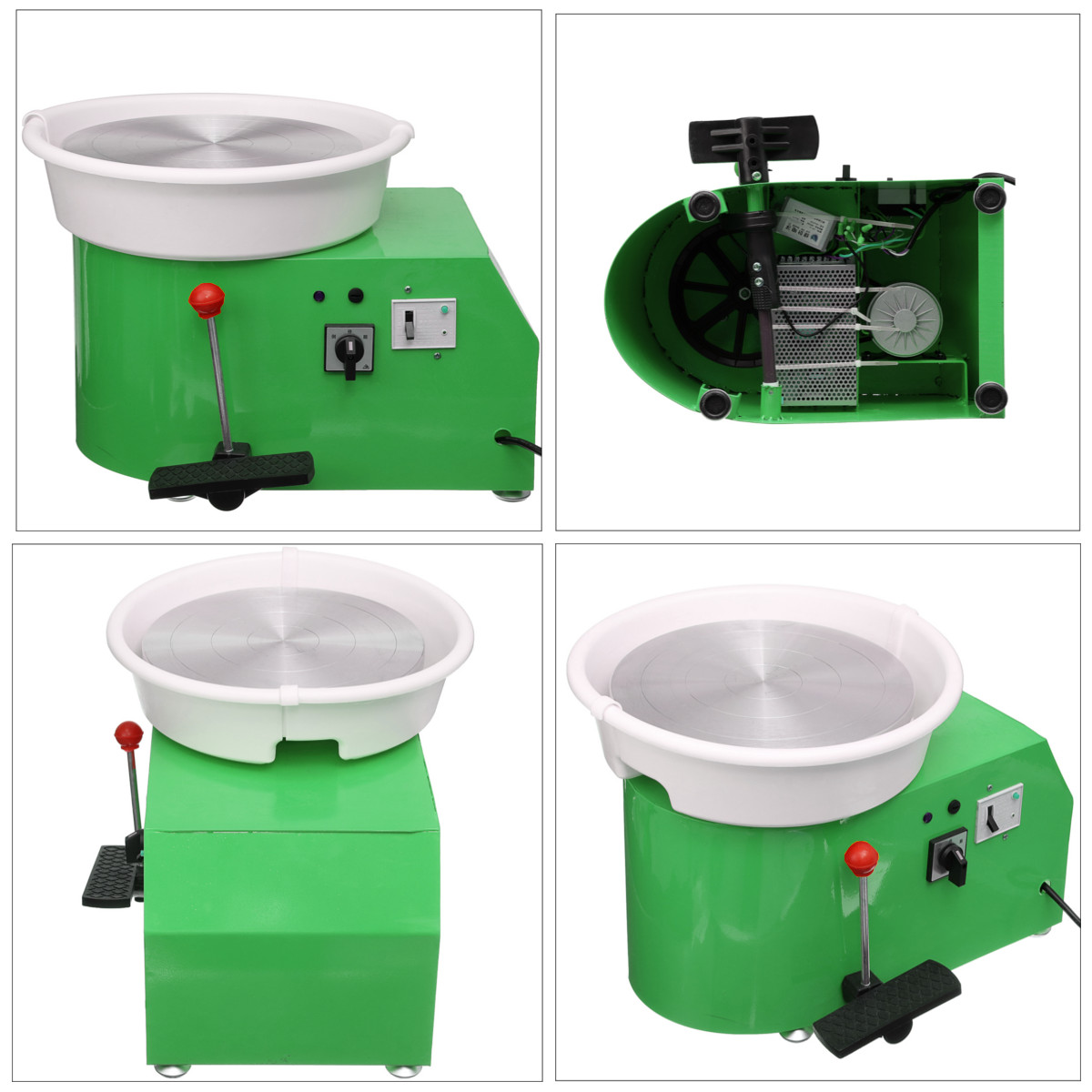 Machine de roue de poterie 32 cm 220 V 350 W à manivelle et commande à pédale en céramique travail argile Art avec Mobile lisse à faible bruit - 5
