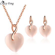 Fashion Elegant Heart Shaped Rose Gold Opal Jewelry Sets Necklace Earrings for Womens Wedding Pendant Girls Valentines Day Gift
