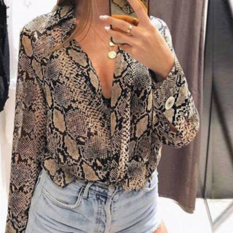 Fashion Snake Skin Print Blouse 2019 Spring Women Sexy V Neck Long Sleeve Shirt Tee Casual Work Buttons Top Boho Chemise Blusas