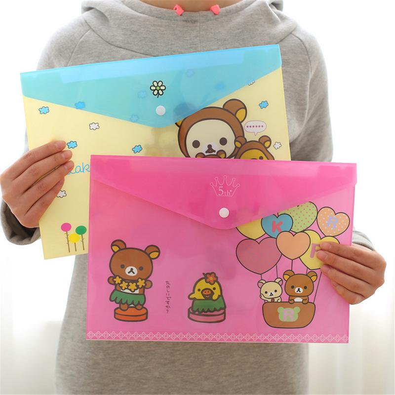 PVC Bag For A4 Paper Cute Animal Pattern Plastic File Bag Lovely Cartoon Animal Ramdom Color Transparent File Folder