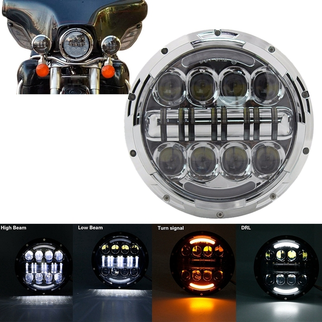 "7"" Inch H4 LED moto Headlight For Harley Davidsion Softail Slim Fat Boy 7inch Halo Angel Eye DRL Led Motorcycle Headlamp"
