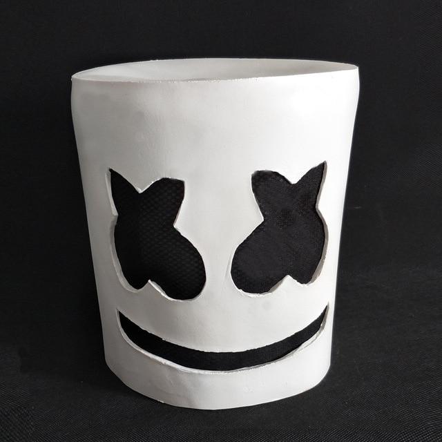 Máscara de látex de Cosplay de malvavisco lindo DJ mello Cos Halloween Cos accesorios de Cosplay para adultos máscara blanca con ojos negros