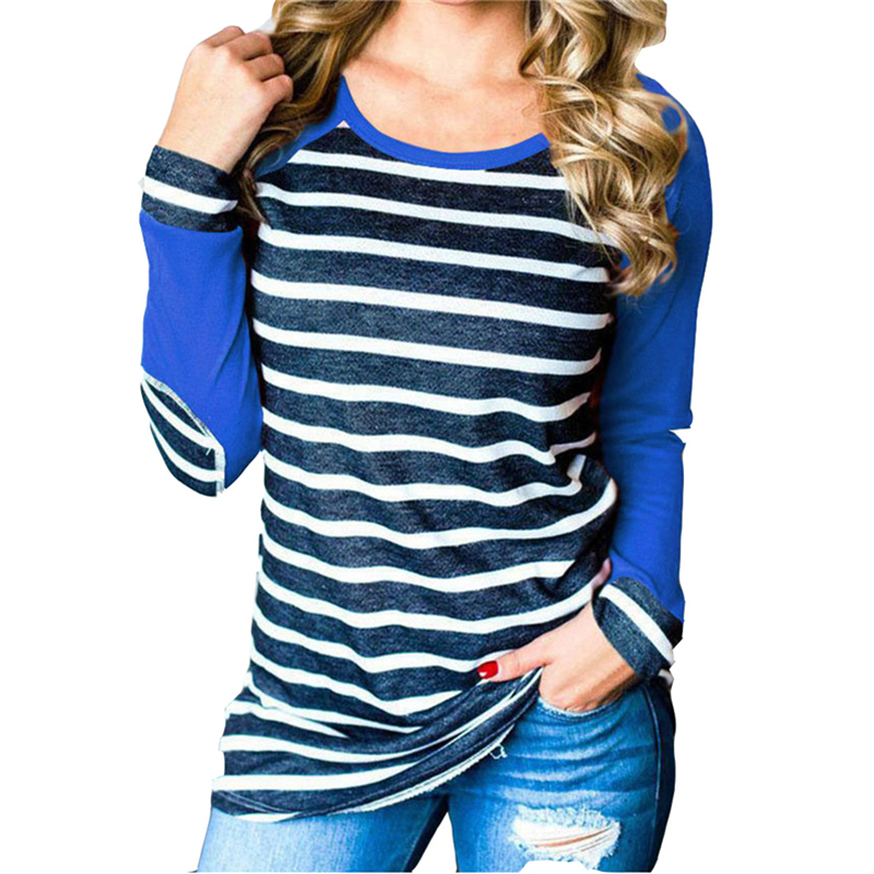 2019 Fashion Stripe T Shirt Women Elbow Patch Female Raglan T Shirts Long Sleeve Harajuku Plus Size Ladies Tops 3XL Mujer in T Shirts from Women 39 s Clothing