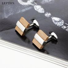 Роскошные деревянные Запонки с низким ключом для мужчин черные