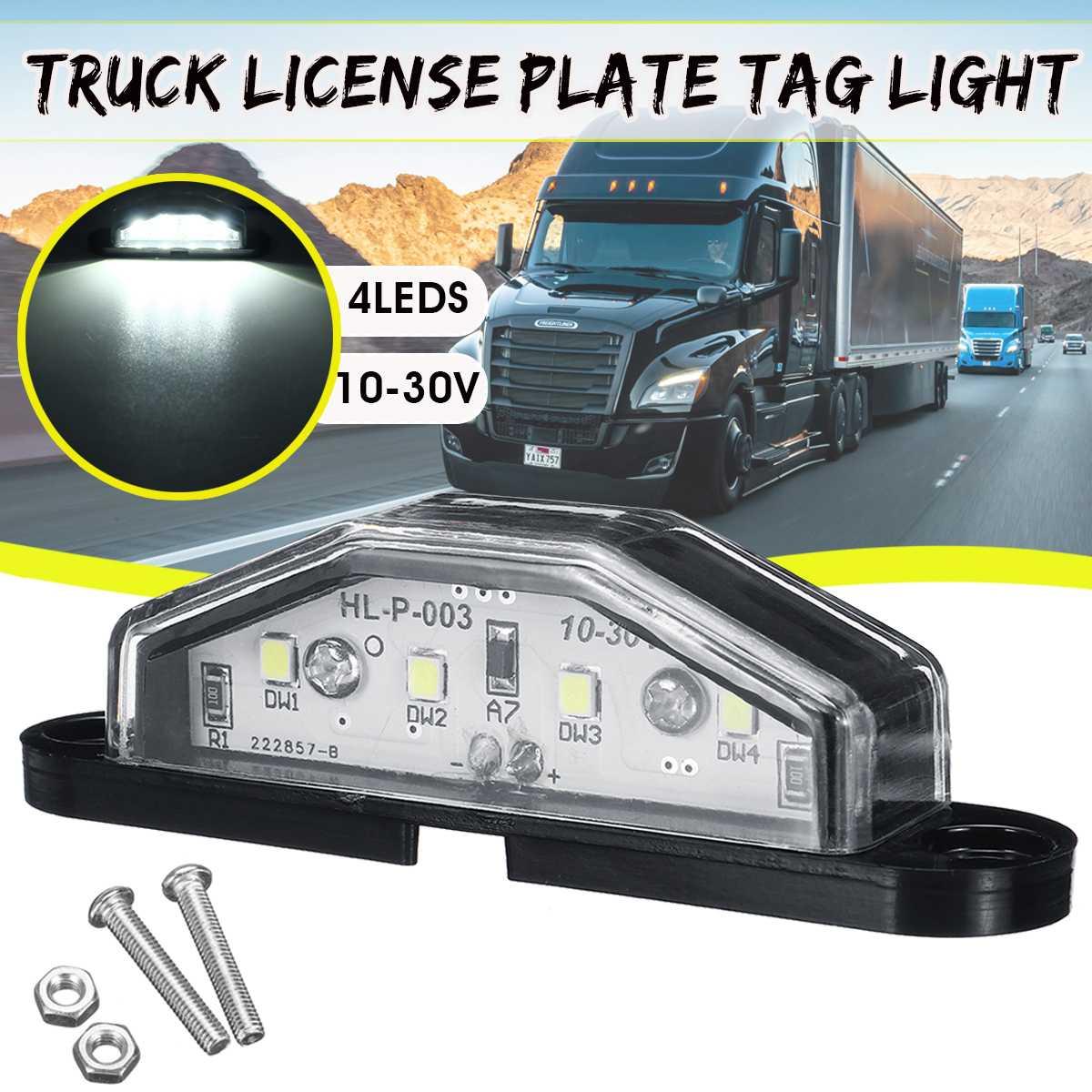 4 LED Car Number License Plate Light Lamp Interior Step Lamp 10-30V Universal for Truck Trailer Caravans(China)