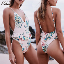 Sexy Backless One Piece Swimwsuit Women High Cut Monokini Ruffle Swimwear Floral Print Swimming Suit Deep V Beachwear