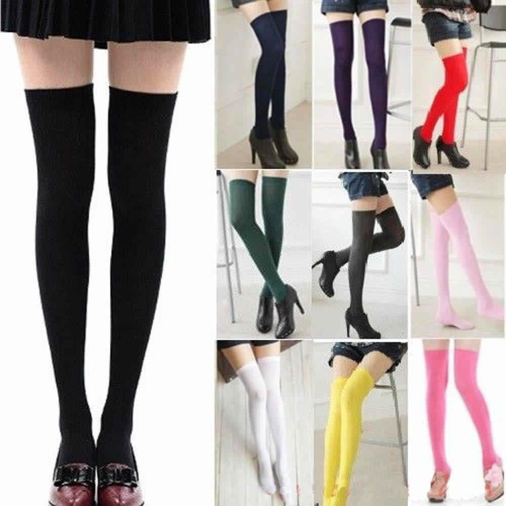 Kadın Giyim Kadın Bayanlar Seksi Örgü Ekstra Uzun Çizme Çorap Diz Üzerinde Uyluk Yüksek Okul Kız Çorap