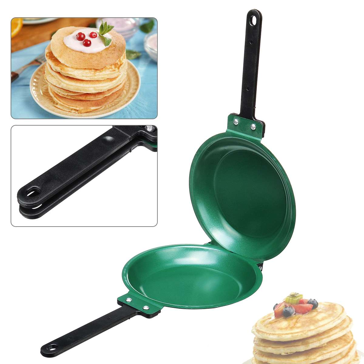 7.5Inch Flip Double Side Frying Pan Non Stick Round for Cakes Pancake Toast Egg Breakfast Making Hand Frying Pan Kitchen Supply Сковорода