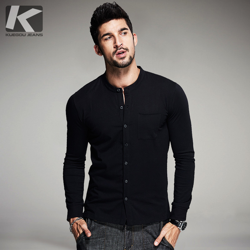 Autumn Mens   T     Shirts   Cardigan Cotton Black White Color Man's Button Long Sleeve   T  -  Shirts   Male Wear Tops Plus Size Tee   Shirts   765