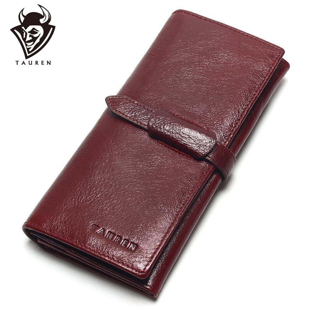 Tauren Retro veini punase värvi rahakotid 100% tõeline lehmakaitse nahast kõrge kvaliteediga naiste pikk rahakoti mündi rahakott Vintage disainer mees